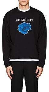 """Second / Layer Men's """"The Disconnect Tour"""" Cotton Crop Sweatshirt-Black Size S"""