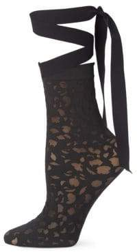 Wolford Amelia Mesh Cutout Ribbon Socks