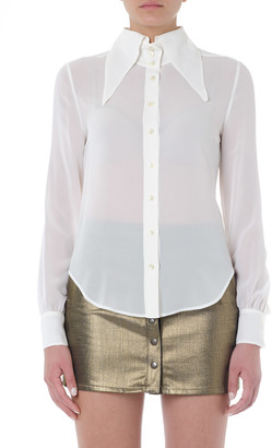 Saint Laurent Oversized Collar White Silk Shirt