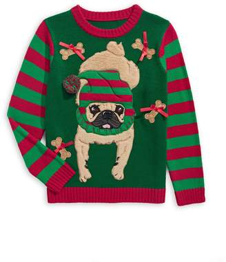 33 Degrees Boy's Holiday Santa Pug Sweater