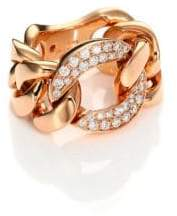 Roberto Coin Gourmette Diamond& 18K Rose Gold Chain Ring