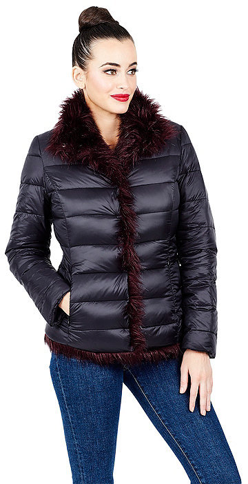 Betsey JohnsonReversible Faux Fur Puffer Coat