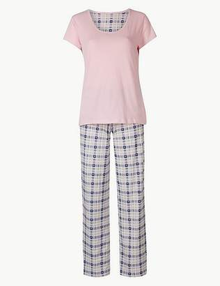 Marks and Spencer Pure Cotton Checked Short Sleeve Pyjama Set