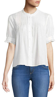 Joie Sayid Pleated Cotton Blouse