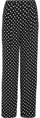 MICHAEL Michael Kors - Polka-dot Crepe Wide-leg Pants - Black $135 thestylecure.com