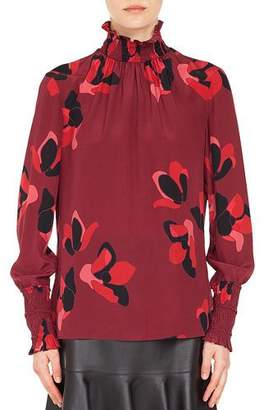 Akris Punto Smocked Turtleneck Long-Sleeve Anemone Floral-Print Silk Blouse