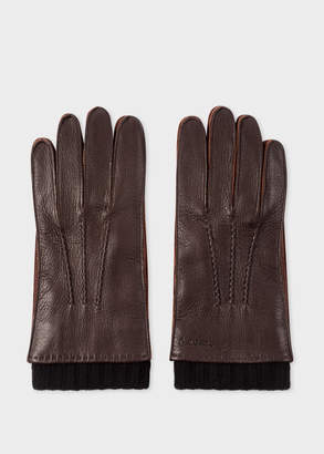 Paul Smith Men's Chocolate Brown Deerskin Silk-Cashmere Lined Gloves