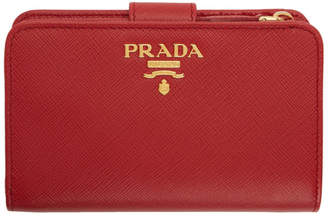 Prada Red Saffiano Small Wallet