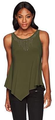 Star Vixen Women's Sleeveless Hanky Hem Grommet Stud Detail Top,XL
