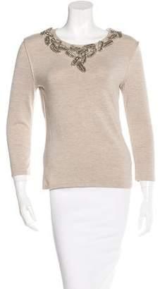 Oscar de la Renta Cashmere-Blend Embellished Sweater w/ Tags