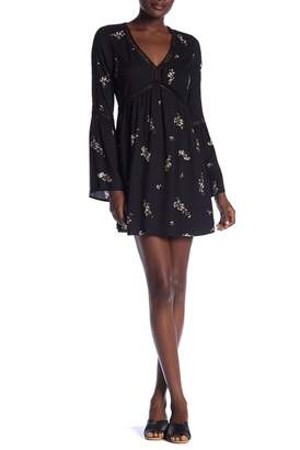 Love Stitch Floral Print Bell Sleeve Dress