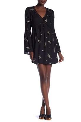 Love Stitch Floral Print Bell Sleeve Dress