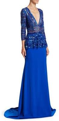 Naeem Khan Quarter-Sleeve Beaded Blouson Gown