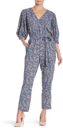 1 STATE 1.State Wrap Tie Floral Print Jumpsuit