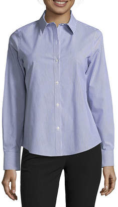 Liz Claiborne Womens Collar Neck Long Sleeve Blouse