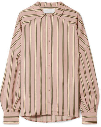 Esteban Cortazar Volume Oversized Striped Satin Shirt - Blush