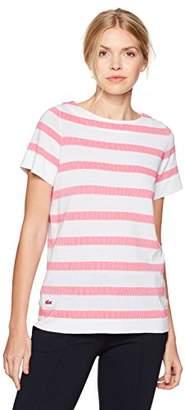 Lacoste Women's Short Sleeve Stripe Jacquard Knit Top