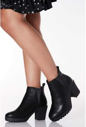Quiz Wide Fit Black Faux Leather Glitter Detail Ankle Boots