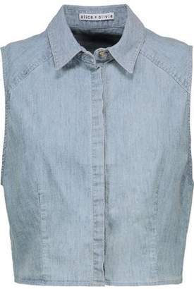 Alice + Olivia Lea Cropped Chambray Top