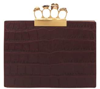 Alexander McQueen Knuckle Crocodile Effect Leather Clutch - Womens - Burgundy
