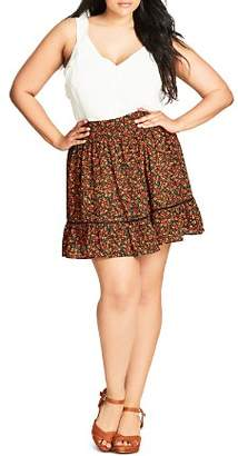 City Chic Plus Floral Print Skirt