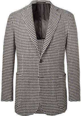 P. Johnson Black Unstructured Houndstooth Wool-Blend Blazer