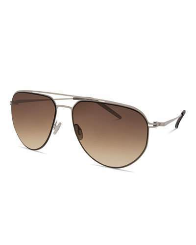 Barton Perreira Men's B010 Aviator Sunglasses, Camo Gray/Oak Gradient