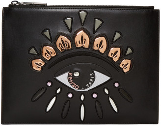 Kenzo Black Leather Embroidered Eye Pouch $275 thestylecure.com