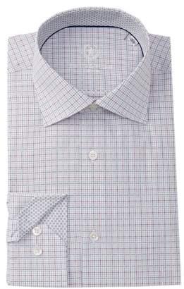 Bugatchi Grid Print Shaped Fit Dress Shirt