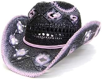 e203cd6b2cc Modestone Women s Open Weave Straw Cowboy Hat Pink
