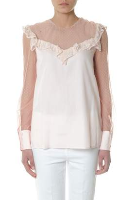 Dondup Pink Crepe & Tulle Laced Blouse