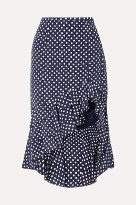 Michael Kors Rumba Ruffled Asymmetric Polka-dot Silk Crepe De Chine Skirt - Navy