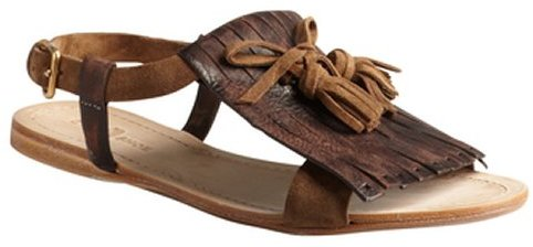 Car Shoe brown distressed leather and suede moc flap sandals
