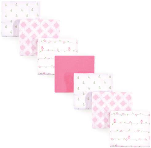 Pink Bird Flannel Receiving Blanket - Set of Seven