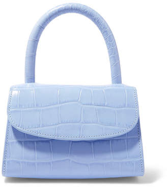 BY FAR - Mini Croc-effect Leather Tote - Sky blue