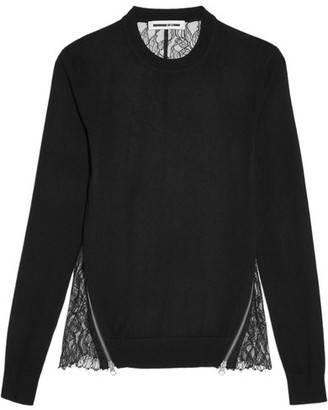 McQ Alexander McQueen - Wool And Lace Top - Black $415 thestylecure.com