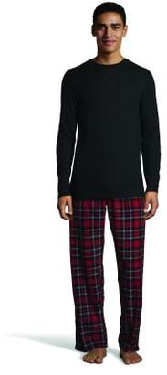 Hanes BIG Men's Thermal Waffle Crew & Fleece Plaid Pant Xtemp Set