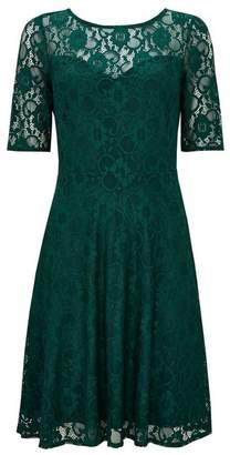 Wallis Green Lace Fit and Flare Dress