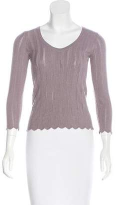 Armani Collezioni Pointelle V-Neck Sweater w/ Tags