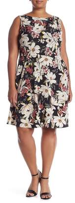 London Times Sleeveless Fit & Flare Dress (Plus Size)
