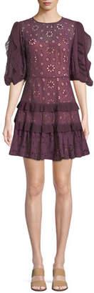 Rebecca Taylor Pinwheel Eyelet Ruffle Mini Dress