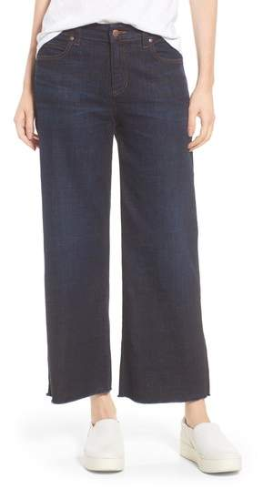 Frayed Wide Leg Ankle Jeans