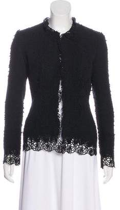 Oscar de la Renta Lace-Accented Open Front Jacket