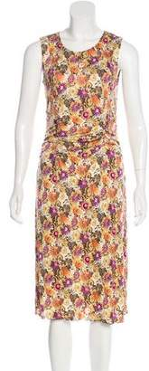 Anna Sui Floral Print Silk Midi Dress