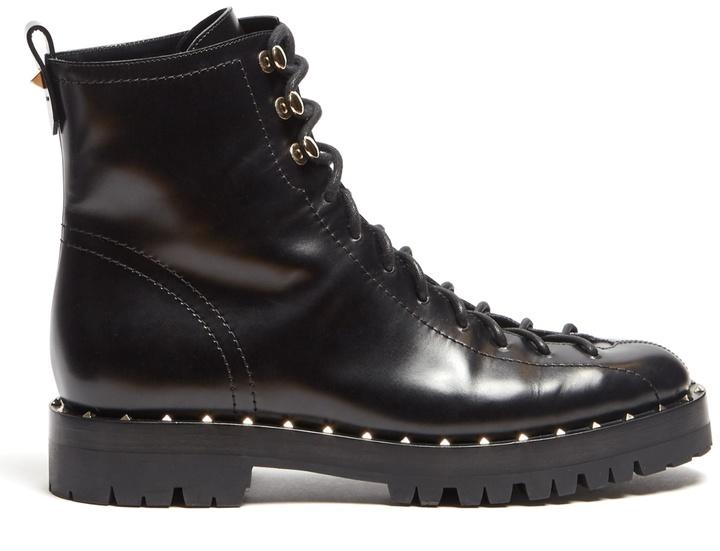 VALENTINO Soul Rockstud trek-sole leather ankle boots
