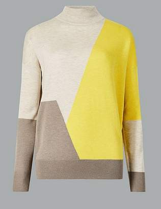 Marks and Spencer Wool Rich Colour Block Turtle Neck Jumper