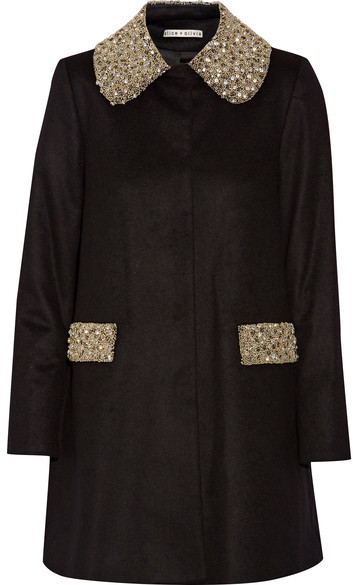 Alice + Olivia Alice + Olivia Alice Olivia - Iris Embellished Wool And Cashmere-blend Coat - Black