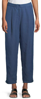 Eileen Fisher Organic Linen-Crepe Pleated Ankle Trouser Pants, Petite