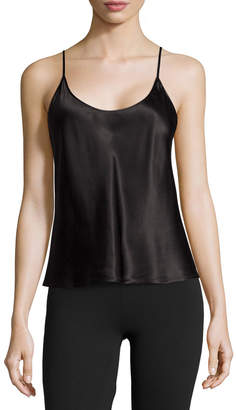 La Perla Silk Scoop-Neck Lounge Tank, Black