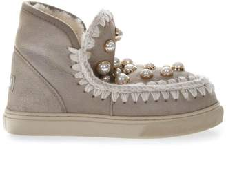 Mou Taupe Leather Sneakers Boots With Pearls